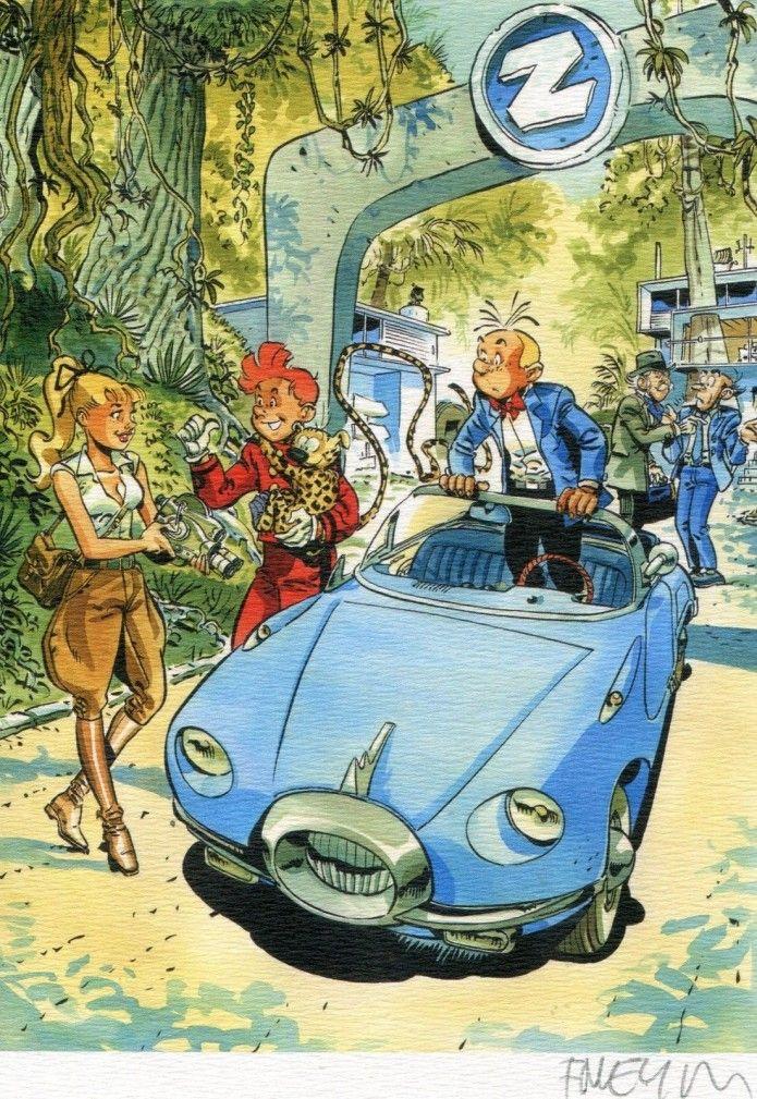Spirou, Fantasio & Seccotine ex libris (ill. Félix Meynet; (c) the artist; Spirou (c) Dupuis; image from ebay.com)