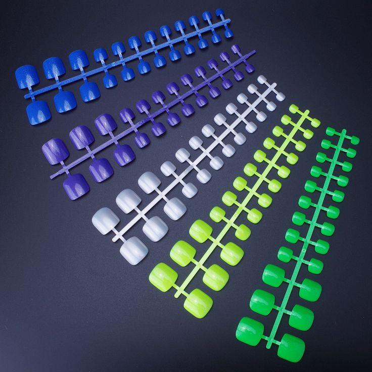 Shinning Candy False Toe Nails 24pcs/set Glitter Toe Tips Full Plastic Toe Art 5 colors Choose Cheap Glitter Toenails Wholesale