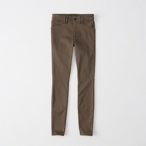 Abercrombie & Fitch Super Skinny Sateen Pants ($34) ❤ liked on Polyvore featuring pants, brown, skinny pants, super skinny pants, brown trousers, skinny trousers and zipper trousers