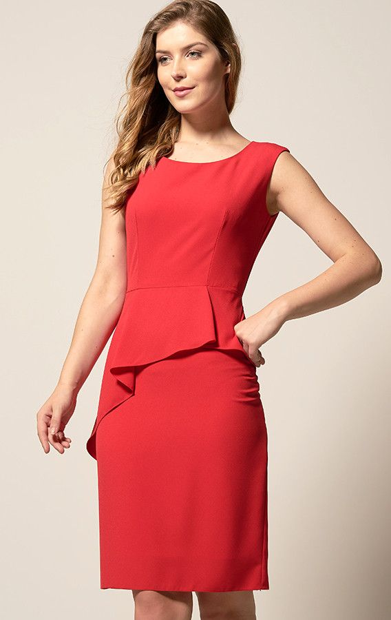 Vestido Tubinho Peplum Assimétrico Vermelho