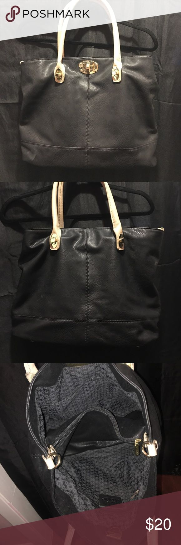 Black Charming Charlie Bag Perfect condition Charming Charlie bag. Fake leather, brown straps. Med-Large sized Tote. Charming Charlie Bags Totes