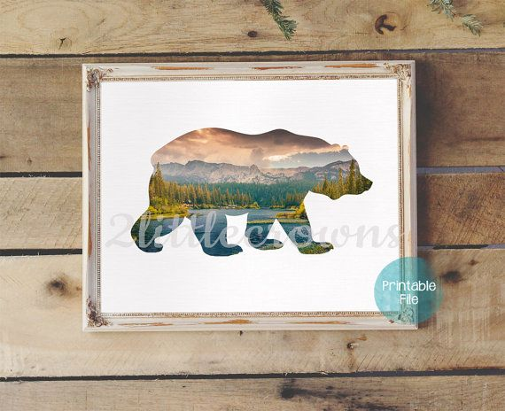 Bear Silhouette with Lake & Forest Trees Printable Wall Art Woodland Nursery Rustic Decor Kid's Room Printable Office Print Instant Download [affiliate link]