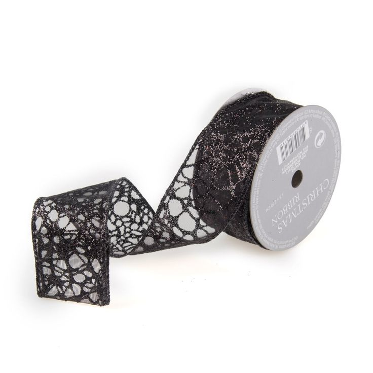 Beautiful organza ribbon, transparent black with glitter and a smudge pattern.