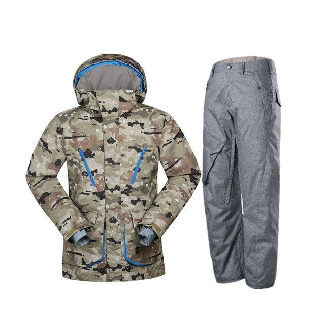 Gsou Snow Brand ski suits for men camouflage snowboard jackets pant men winter mountain skiing suits veste ski wear men
