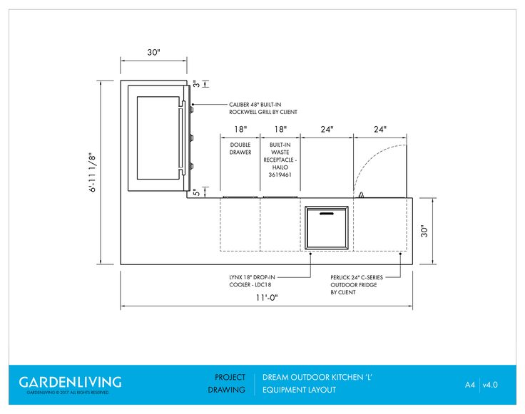 Layout U0026 Equipment Architectural Drawing For Outdoor Kitchen Design