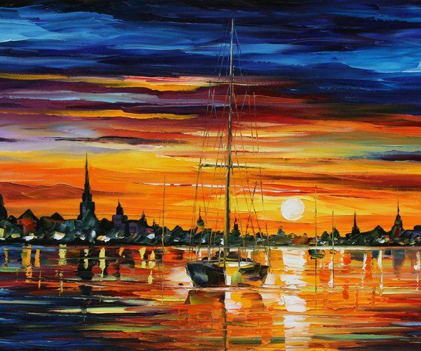 CALM SUNSET - LEONID AFREMOV by Leonidafremov (print image)
