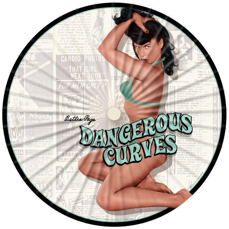 Inked Boutique - Bettie Page Dangerous Curves Parasol White Pin Up Rockabilly Retro www.inkedboutique.com