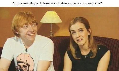 "HP. ""Emma and Rupert, how was it sharing an on screen kiss?"" Their expressions say it all"
