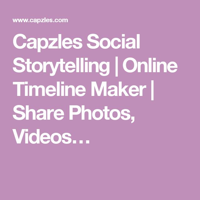 Capzles Social Storytelling | Online Timeline Maker | Share Photos, Videos…