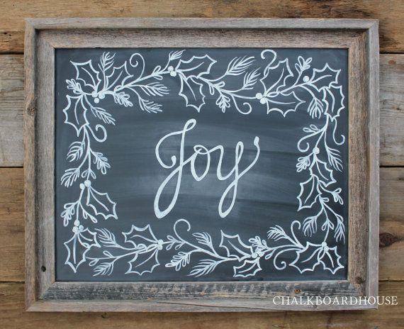 Hand Painted Chalkboard Joy Sign with Holly Border - 16x20 Unframed Chalkboard Art