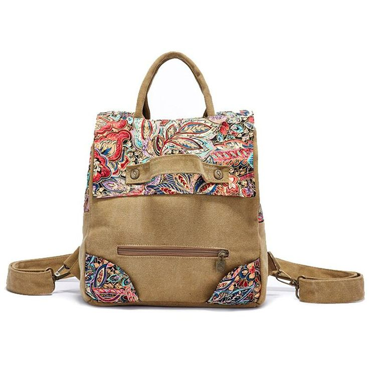 GESIMEI Women's Retro Canvas Backpack Painted Flower Cute Totes with Zipper >>> See this great image  : Day backpacks