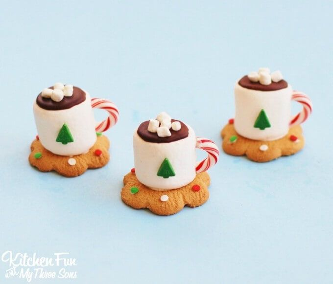 How cute are these Hot Chocolate Mug Cookies from Kitchen Fun with My Three Sons! - Perfect for a cookie swap!