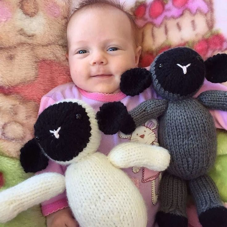 Look how big she is now!!! Cutest little model ever! These lambs are so happy with their new lifetime friend  #happy #smile #lamb #baby #toys #yarn #knittersofinstagram #wool #cute #babygirl #knitting #friends #love #thankyou @annettehanley66