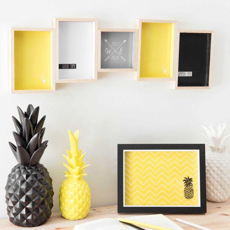 Statuette ananas en porcelaine jaune H 24 cm | Maisons du Monde