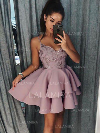 c0c1f0dba72  US  127.00  A-Line Princess V-neck Short Mini Stretch Crepe Homecoming  Dresses With Ruffle Appliques Lace