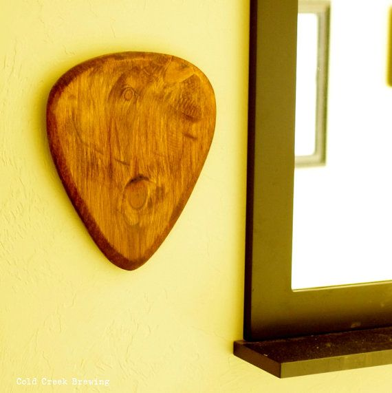 Giant Wood Guitar Pick Wall Art by coldcreekbrewing