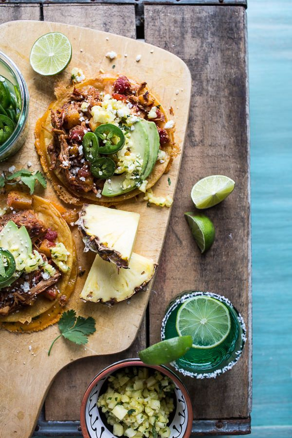Pineapple Chicken Tinga Quesadilla Tostadas with Tequila Lime Pickled Jalapeño's | halfbakedharvest.com @hbharvest