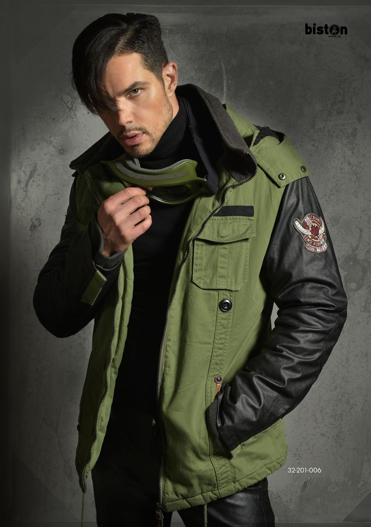 Men's jacket, straight bottom shape with detachable hood & boa fur on inner hood side. www.biston.gr