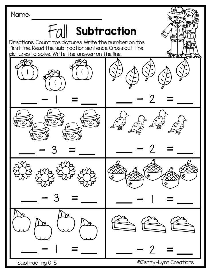 Fall Subtraction Preschool worksheets, Subtraction