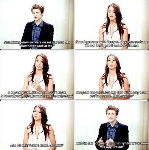 Keegan Allen (Toby)  Troian Bellisario (Spencer) - Pretty Little Liars