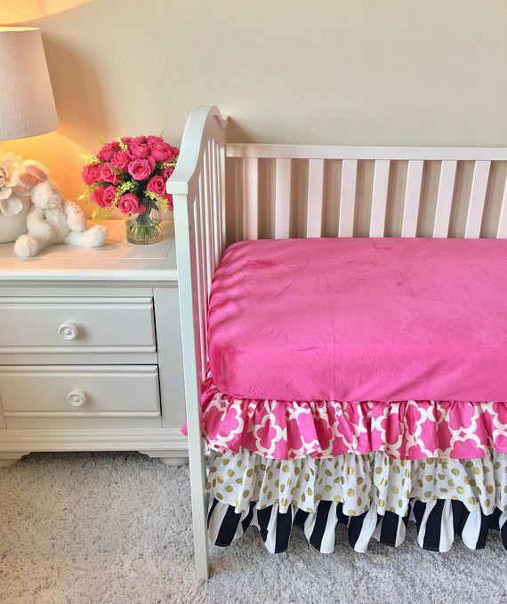 Hot Pink Crib Skirt, Gold Dot Crib Skirt, Black and White Stripe Crib Skirt, Stripe Ruffled Crib Skirt, Pink Ruffled Crib Skirt