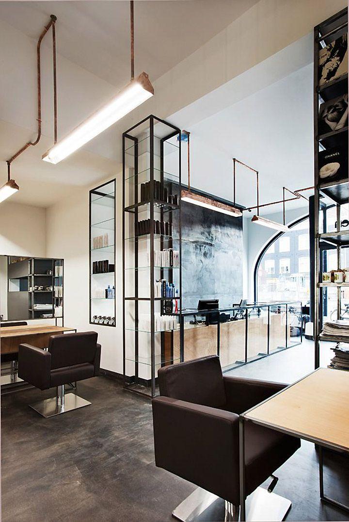 Mogeen Salon & Hairschool by Dirk van Berkel, Amsterdam. nice flooring, reception and lights.