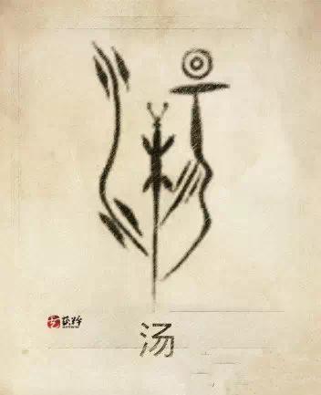 湯姓圖騰,湯姓是以太陽、水蜥蜴(中華鼉龍)為圖騰,象形是日升之谷,名湯谷,又名暘谷。古代中國人認為,太陽每天從東方大海中的湯谷(溫源谷)升起,傍晚落入西方弇茲山(又作崦嵫山)的虞谷,經過歸墟又回到湯谷,洗個澡,在東海扶桑樹下休息,另一個太陽從扶桑樹頂起程。所以湯是以龍為扶桑木和大海的代表,推動太陽的升起,以此為圖騰組合。羲和十子受封湯谷得姓,又傳商湯裔以湯為姓。 始祖:商湯。