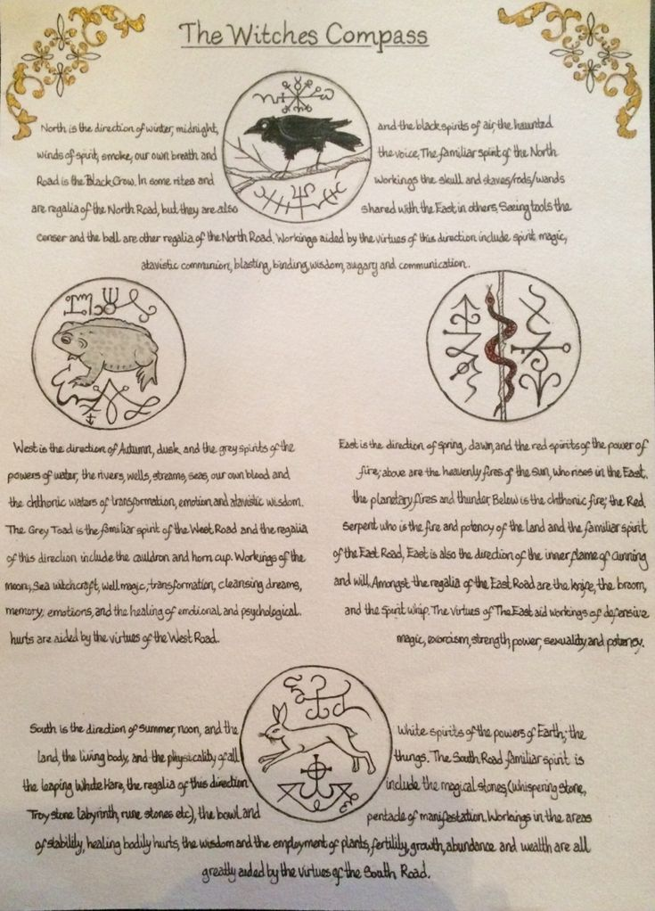 Page of my BoS including the four directions of the witches compass, taken from; Traditional Witchcraft, by Gemma Gary @fern-goddess In response to your question to my other blog, these are the meanings behind the sigils/seals, hope this helps
