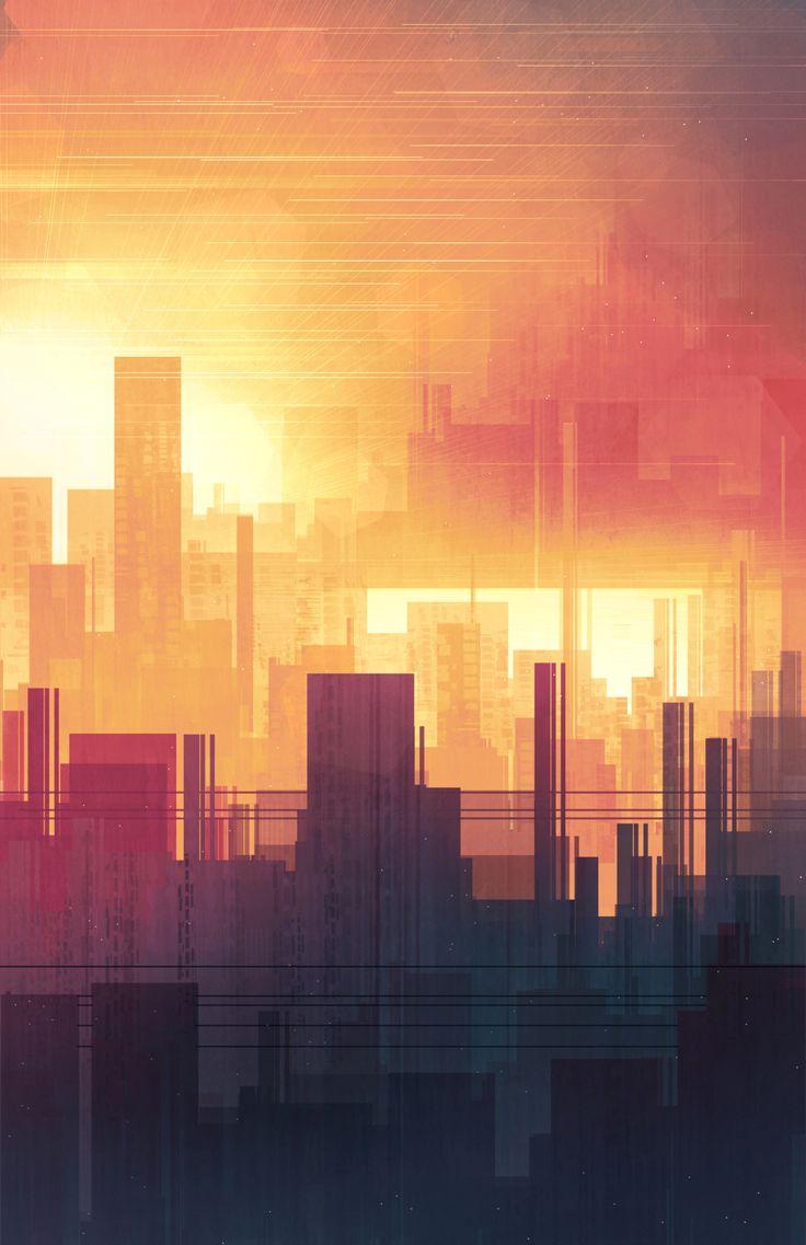 Best Digital Painting Images On Pinterest Digital Paintings - City skylines turned into geometric metropolises by scott uminga