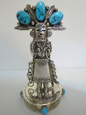 """NAVAJO Vintage STERLING SILVER Turquoise 5.5"""" Kachina Doll Stand BETTY BITSIE"""