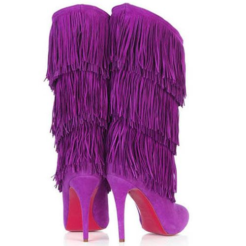 210d2896887 Fringed and Fabulous Christian Louboutin Forever Tina! Stunningly beautiful  and fabulous in fringed purple details at shaft that truly emphasized the  ...