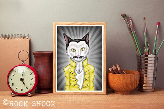 Eddie Meowrcury drawing by ROCK SHOCK Check out this item in my Etsy shop https://www.etsy.com/uk/listing/521326889/funny-cat-drawing-greeting-card-eddie #funnycats #rockcats #catrockstars #rockercats #cats #cat #catsart #catdrawing #eddiemeowrcury #catsinger #catmusician #cutecats #meow #etsyshop #artist