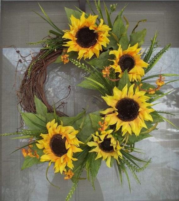 Spring Wreath,Wreath,Sunflower wreath,Summer wreath,home decoration,birthday gift,Outdoor decor,Sunny days wreath,Sunflower wreath,chartruse...