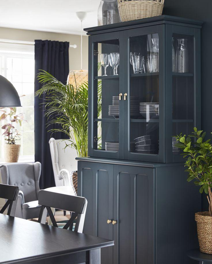 lommarp cabinet with glass doors  dark bluegreen 86x199