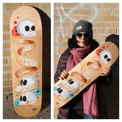Acrylic on skate deck. Skate with me. lauralvarez.com