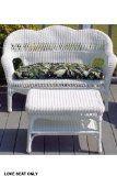 Sahara Weather Resistant Outdoor Wicker Love Seat, 41″x17.5″x35″, WHITE