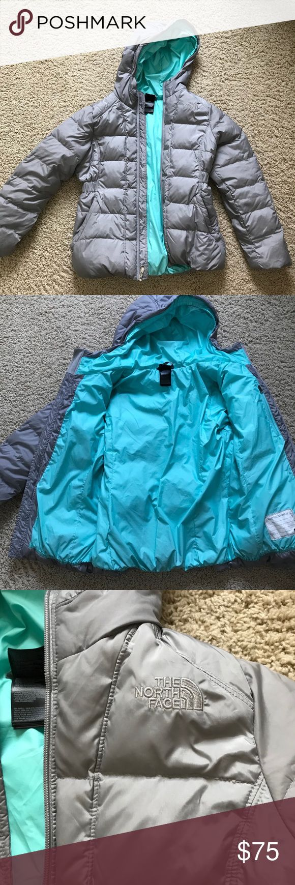 Girls North Face winter puffer euc 14/16 Excellent condition girls gray w/ turquoise interior hooded north face fleece North Face Jackets & Coats Puffers