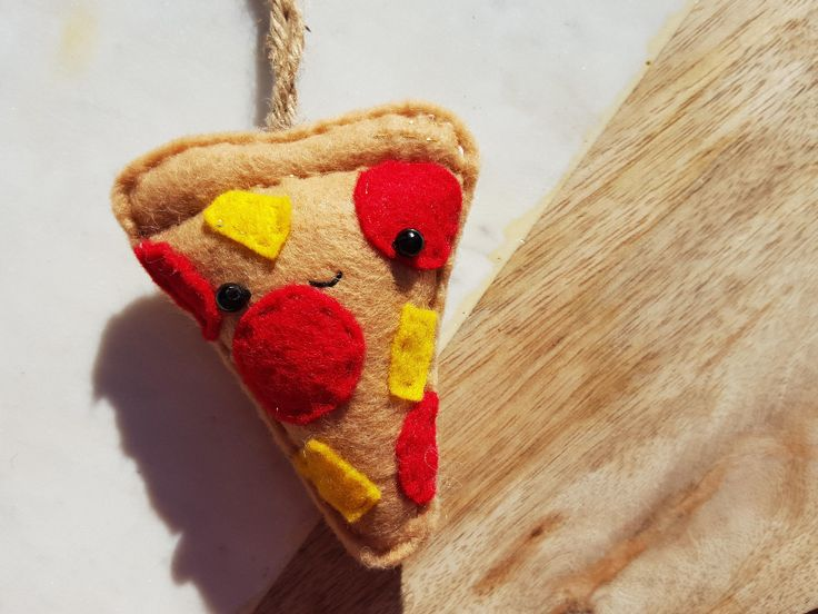 PIZZA ME - Keychain - Felt Plush Ornament - Gift for Him/Her, Birthday, Kid, Christmas Ornament Present - Cute, Punny, Soft Toy by THEBRANCHANDTHEVINE on Etsy