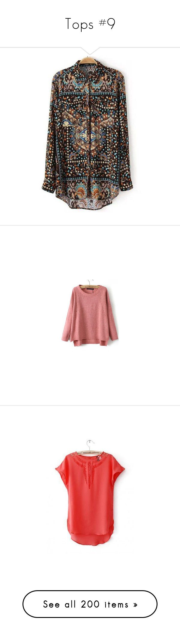 """""""Tops #9"""" by vanessa-m-108 ❤ liked on Polyvore featuring tops, blouses, multicolor, brown top, multi color blouse, flower print blouse, collar blouse, loose blouse, sweaters and red top"""