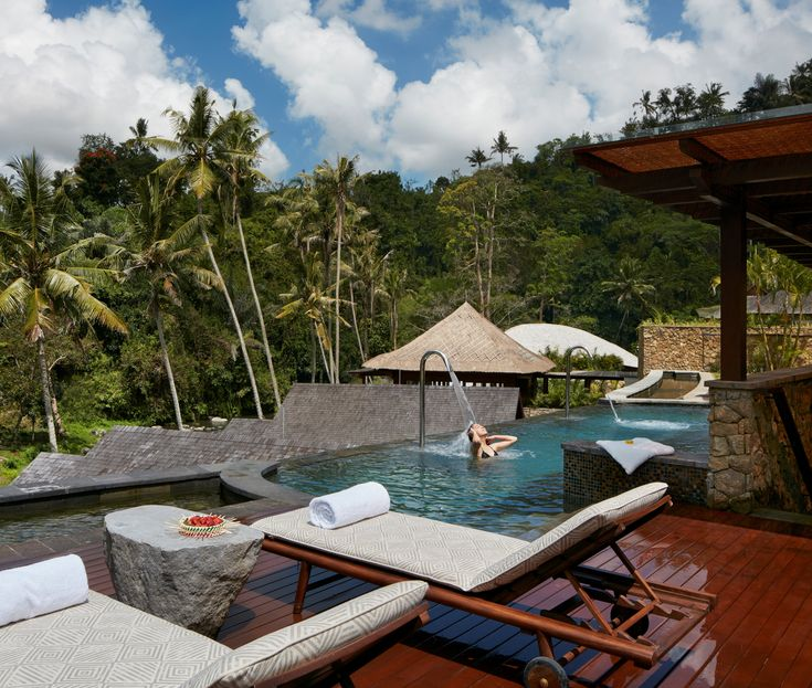 Mandapa, a Ritz-Carlton Reserve, Bali, Indonesia. Channeling the healing practices of Balinese culture, this spa features eight treatment rooms and a vitality pool that overlooks the Ayung River. This indoor-outdoor wellness center devised by Asian firm DesignWilkes was inspired by the architecture of the local village of Ubud and features sustainably sourced teak, bamboo, thatch, and volcanic basalts