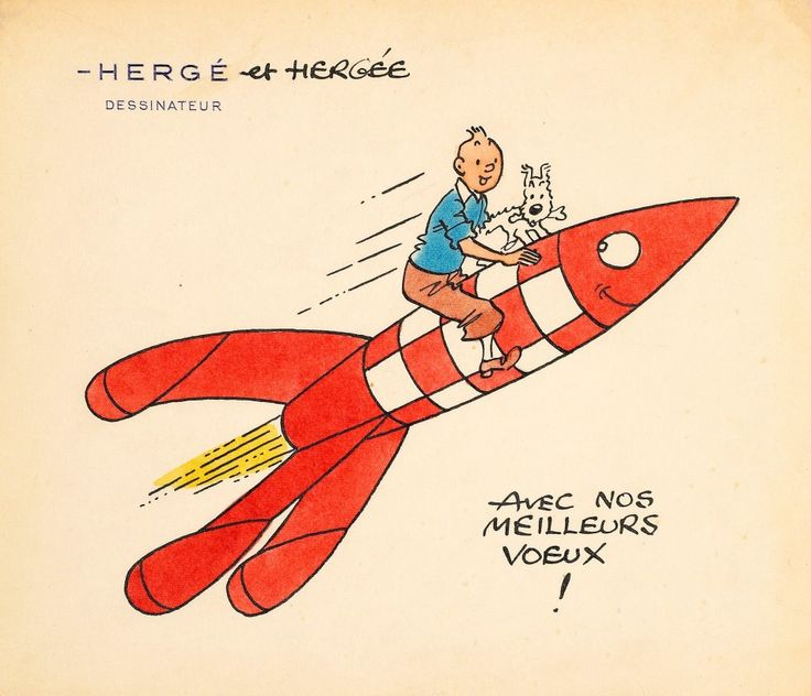 A handmade greeting card by Hergé featuring a drawing of Tintin and his faithful dog Snowy perched on the famous red-and-white rocket from the moon adventure.