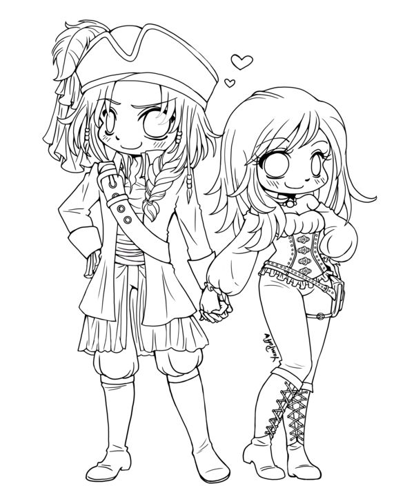 pirate couple open lineart by yampuff on deviantart coloring sheetsadult - Coloring Pages Anime Couples Chibi
