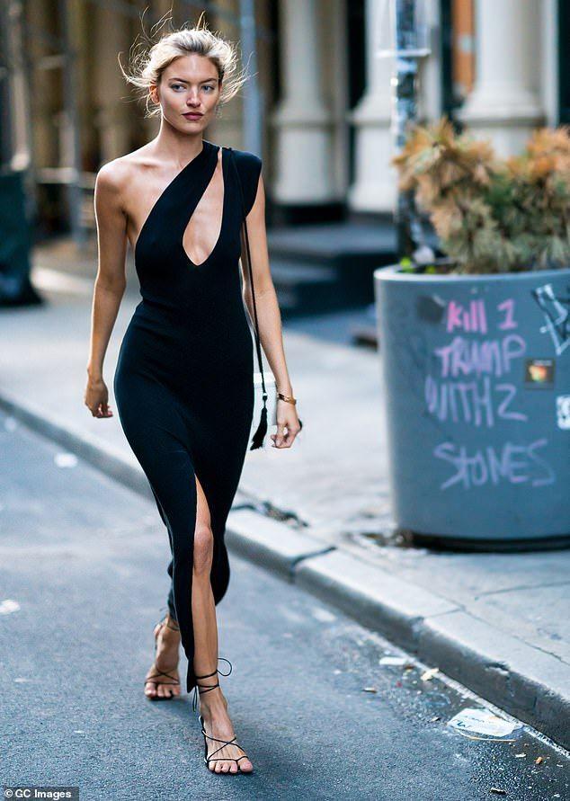 ac82f0281a05 Martha Hunt shows off incredible figure in black dress in NYC | #FASHION  2019 | Fashion, Posh dresses, Dresses