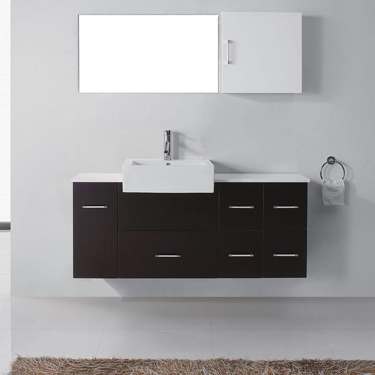 virtu usa hazel 56inch single sink bathroom vanity set