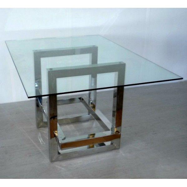 Mesa de comedor 140x100x77cm acero inoxidable acabado for Mesas comedor cristal y acero