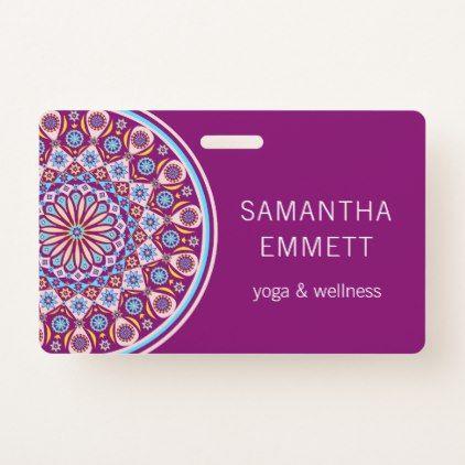 Purple Mandala Yoga Instructor Badge - professional gifts custom personal diy