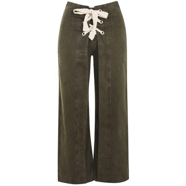 Topshop Moto Khaki Lace Up Cropped Jeans ($28) ❤ liked on Polyvore featuring jeans, khaki, lace-up jeans, wide leg jeans, high waisted khaki jeans, high rise wide leg jeans and wide leg cropped jeans