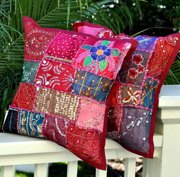 Bohemian Pillow Cover -- Burgundy