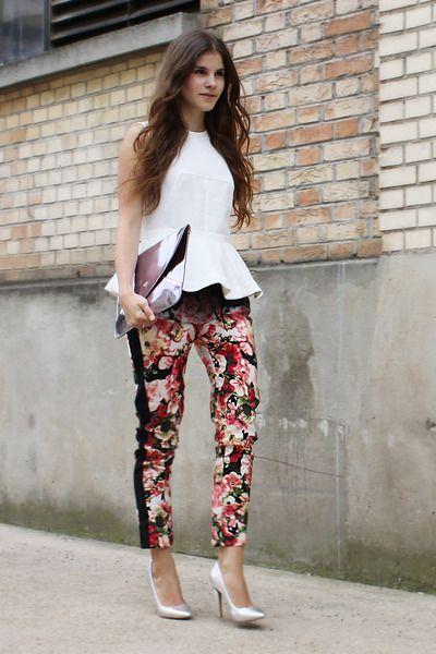 white-peplum-h-m-shirt-silver-romwe-bag-silver-asos-pumps-floral-h-m-pants_400.jpg (400×600)