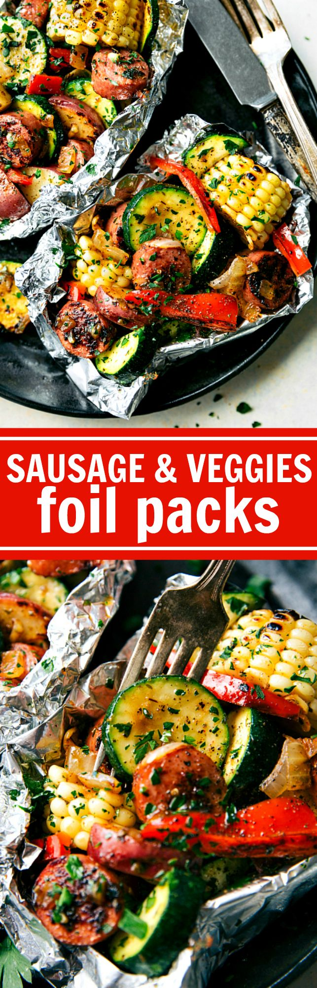 These delicious and easy tin foil packets are so quick to assemble! They are packed with sausage, tons of veggies, and the very best seasoning mix. Recipe from chelseasmessyapron.com
